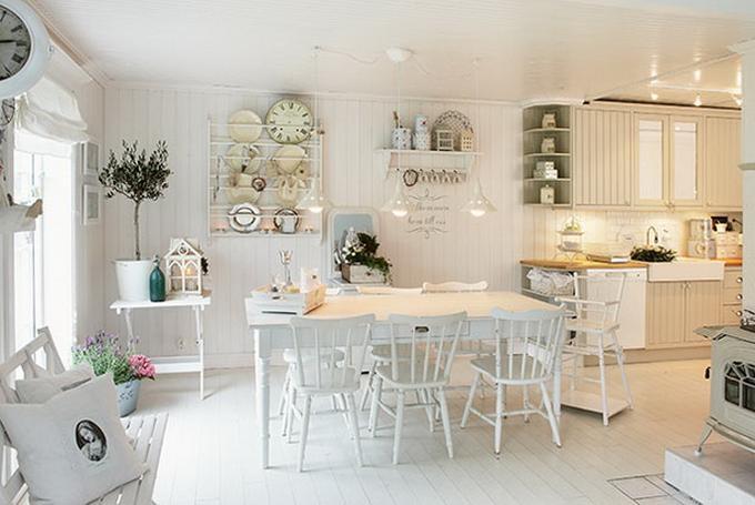 Beliebt deko-ideen-landhausstil-93_10 helle Küchen-Esszimmer QZ21