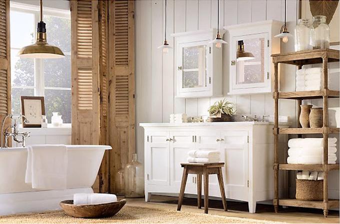 Gemütliches und natürliches Badezimmer. Foto veröffentlicht ...