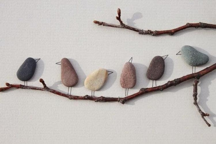 Süßes Vogelbild Aus Steinen Basteln Tolle Idee Foto Veröffentlicht