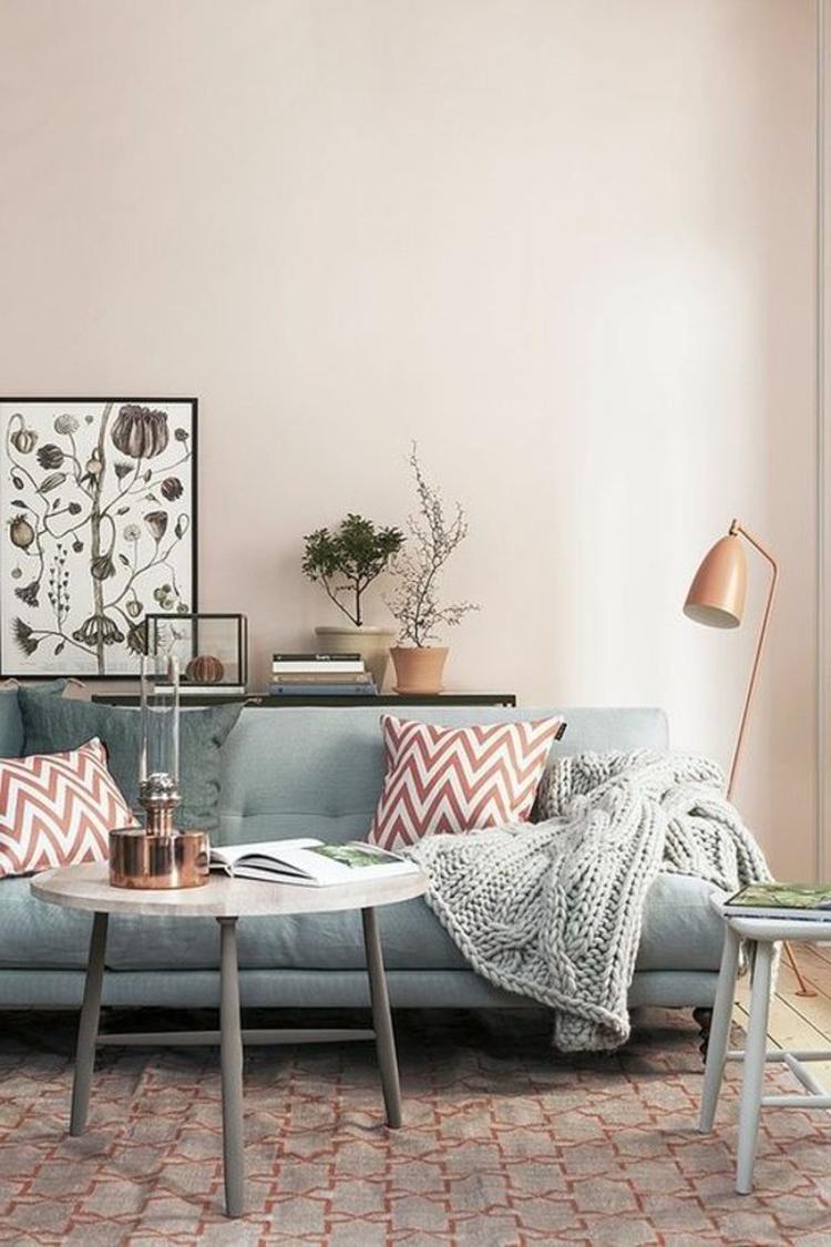 wohnzimmer-design-skandinavischer-stil-kupfer mit grau weiß. Foto ...