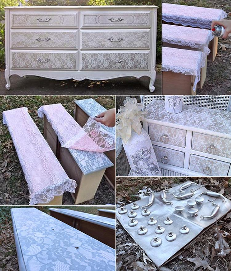 Alte Möbel neu gestalten mit Sprayfarbe und Spitze. Foto ...