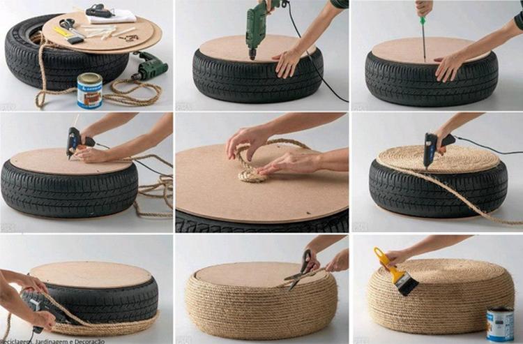 Cool DIY Idee. Einen Beistelltisch aus einem alten Autoreifen machen ...