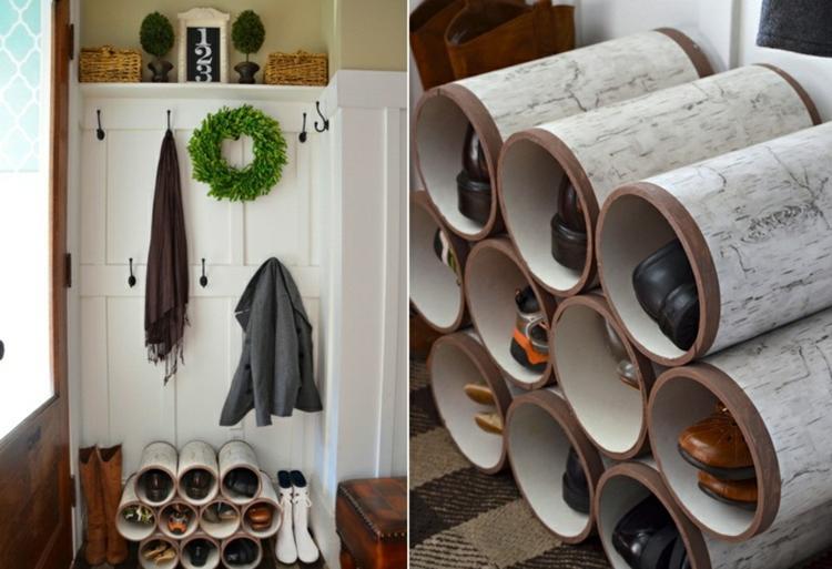 Ausgefallenes regal selber bauen  Schuhregal selber bauen aus Plastik rohren aus dem Baumarkt und ...