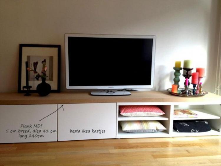 Ikea Besta TV Schrank mit einem schönen Holzbrett aufwerten. So ...