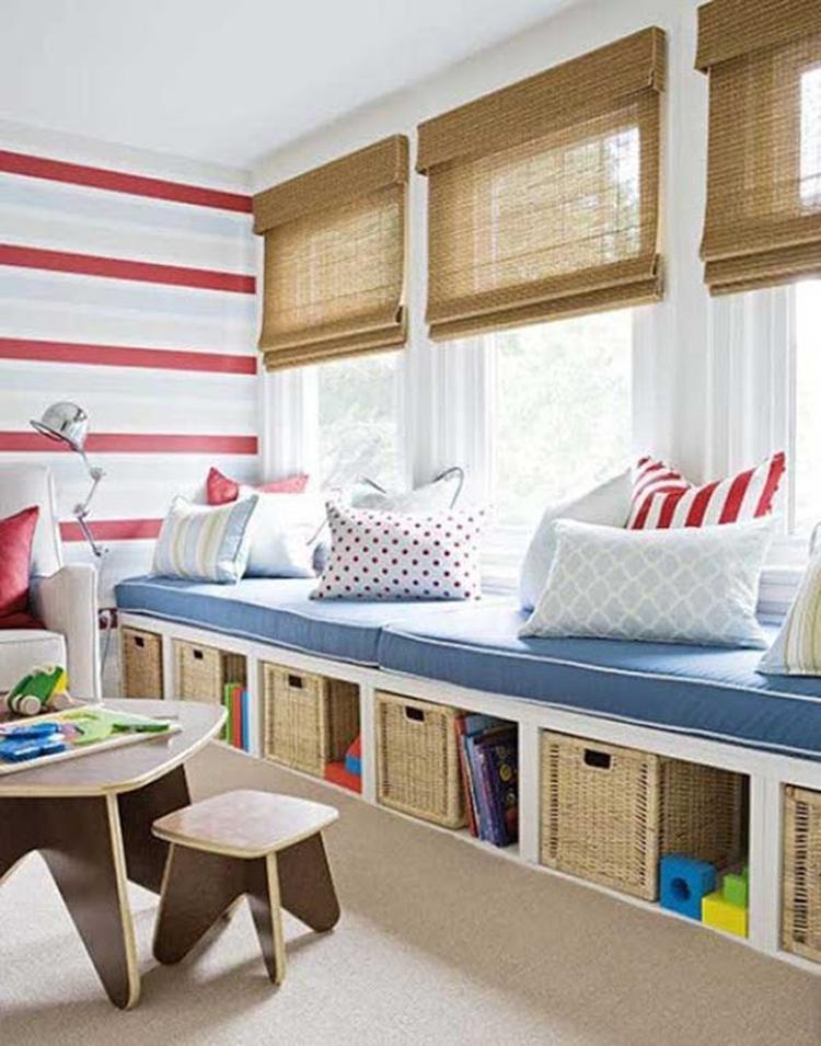 Leseecke kinderzimmer  Super Idee für eine leseecke im Kinderzimmer mit Sitzbank die ...