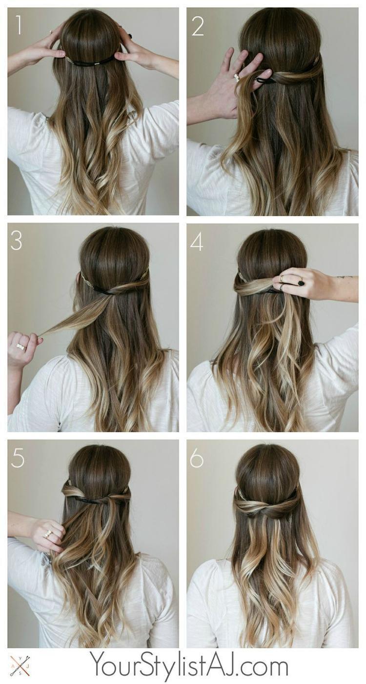 Einfache Und Elegante Frisur Für Lange Haare Foto Veröffentlicht