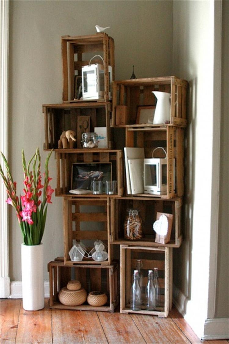 Schönes Wohnzimmer Regal aus Obstkisten. Foto veröffentlicht von ...