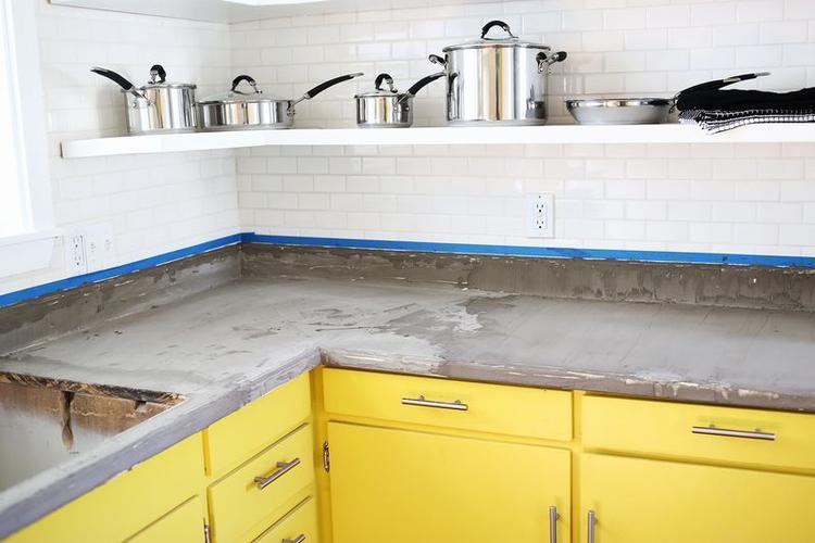 Küchenarbeitsplatte Selber Machen coole idee wenn eine küche mit einer hässlichen arbeitsplatte
