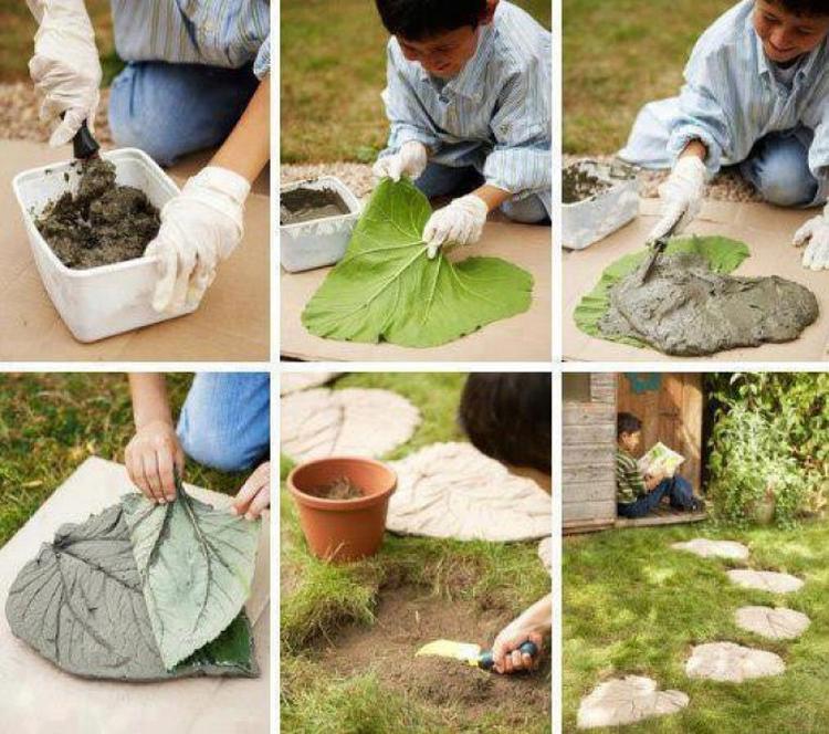 Gut Einzigartige Garten Fliesen Oder Trittsteine Selber Machen Mit Einem Großen  Blatt Und Zement