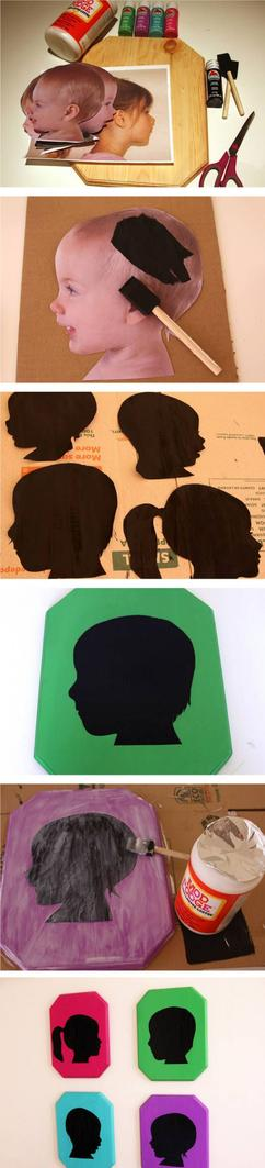 Kreatives Muttertagsgeschenk Mit Kinderfotos Silhouetten Basteln